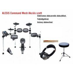Alesis Command  Mesh Kit elektromos dobszerelés fejhallgatóval és dobszékkel