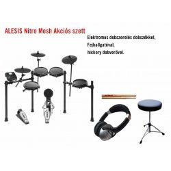 Alesis Nitro Mesh Kit elektromos dobszett kiegészítőkkel Akciós csomagban